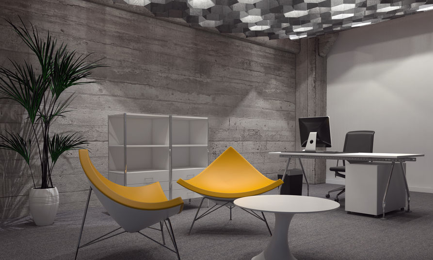 Modern Yellow Chairs Standing Out in Grey Room